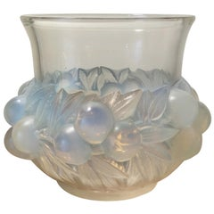 1930 Rene Lalique Prunes Vase in Opalescent Glass, Fruits