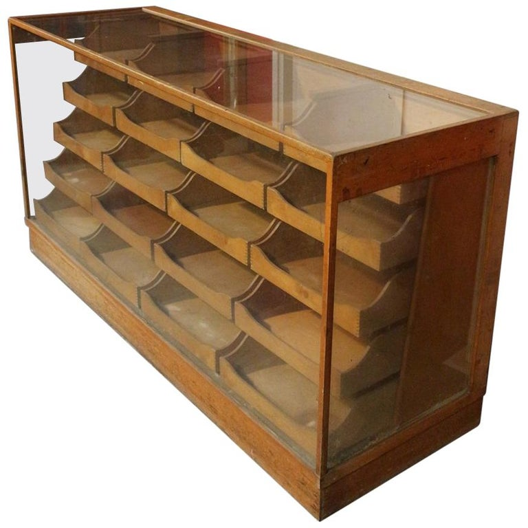 Early 20th Century Haberdashers Countertop Display Cabinet