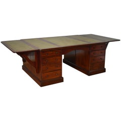 19th Century Victorian Mahogany Partners Desk of Large Proportions