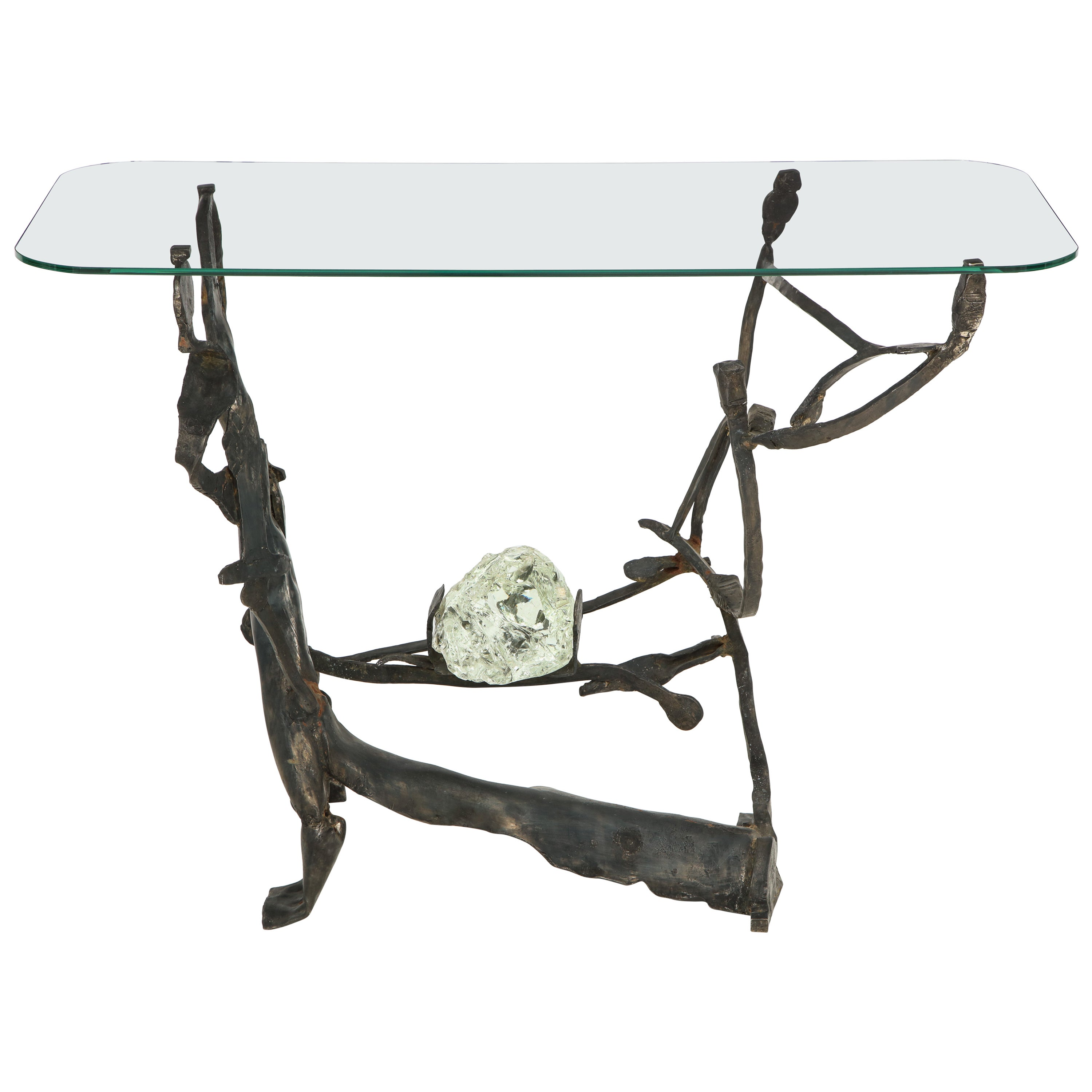Rare Handcrafted Iron and Glass Brutalist Console by Salvino Marsura, Italy 1970