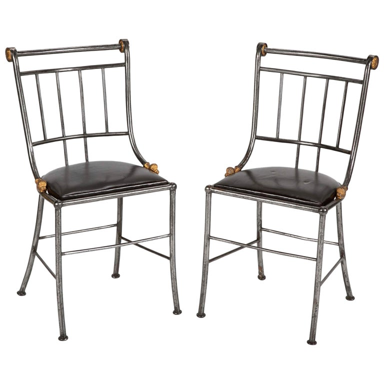 Pair of Steel and Gilt Metal Hall Chairs