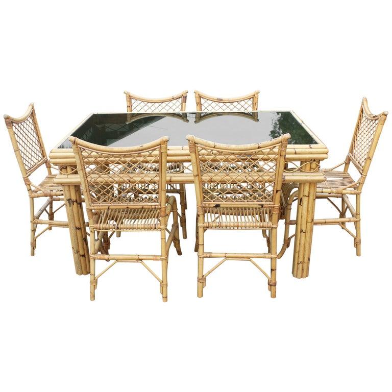 1970s Spanish Bamboo and Rattan 6-Seat Dinning Set