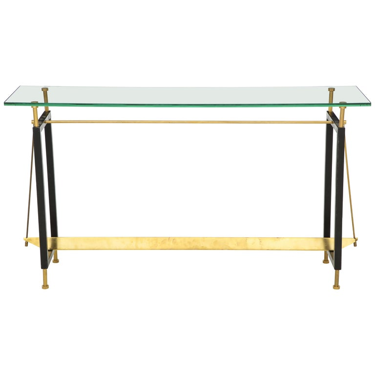 One of a Kind Custom-Made Linear Brass and Iron Console, Italy For Sale