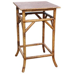 1950s Oriental Bamboo and Rattan Side Table
