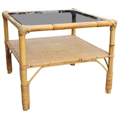 1970 Spanish Bamboo and Rattan Side Table with Smoked Glass Top