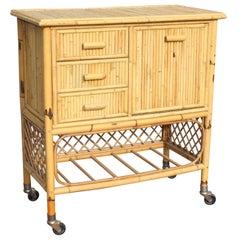 1970s Spanish Bamboo Bar Cart Trolley