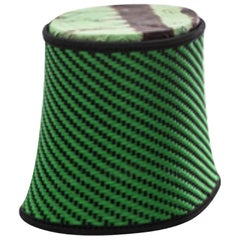 Moroso Baobab Pouf / Stool in Handwoven Thread & Fabric Seat Pad by Marc Thorpe