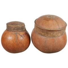 Vintage African Gourd Storage Vessels
