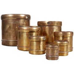 Handmade Set of 7 Engraved Brass Grain Measures, Midcentury, India
