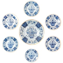Chinese Flower Basket / Blue and White Delft Plates / Group of Seven