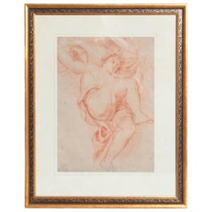 18th Century Continental Red Chalk Drawing, Figure Study