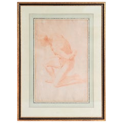 19th Century Continental Red Chalk Drawing, Figure Study