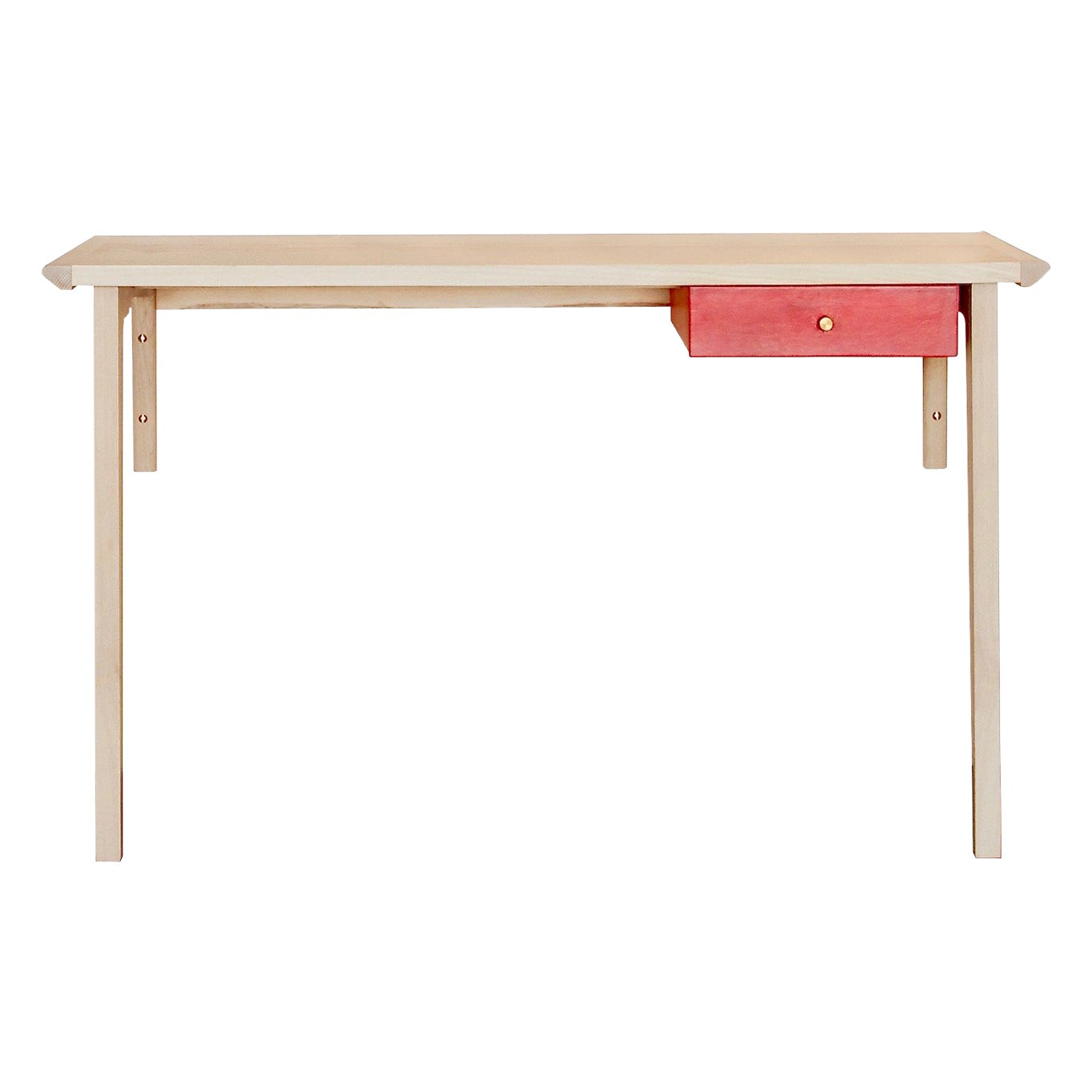 Whitewashed Ash Linderman Wood Wall-Mounted Desk with Leather Wrapped Drawer
