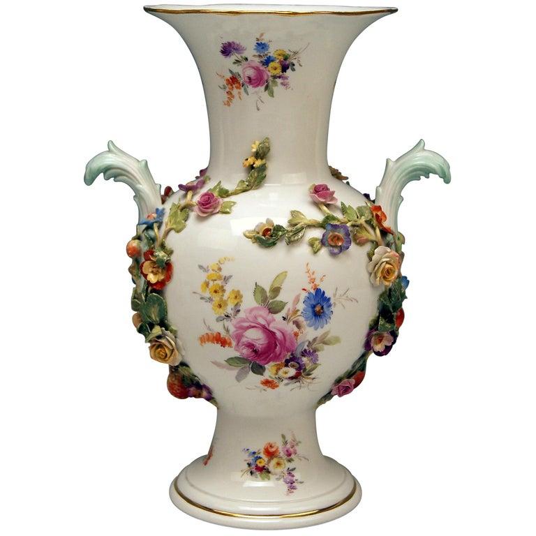 Meissen Bellied Vase Sculptured Flowers Fruits, circa 1870 For Sale