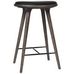 Counter Height High Stool Sirka Grey Oak Wood Leather Seat by Mater Design