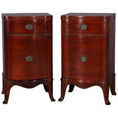 Pair of Williamsport Furniture Mahogany Serpentine Single Drawer End Stands