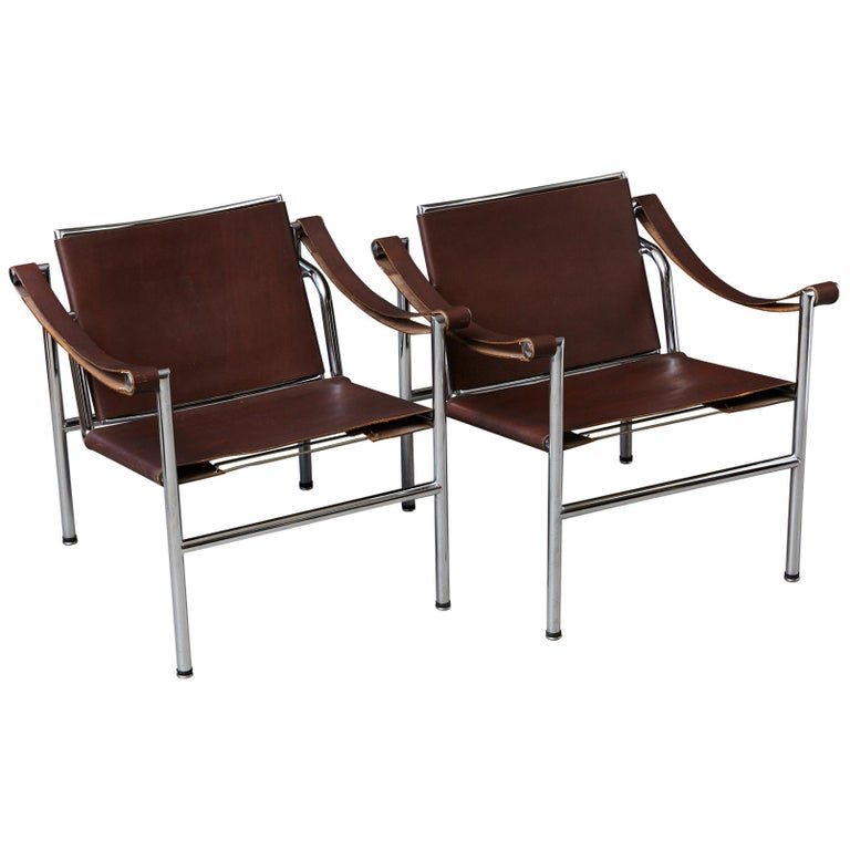 Rare Pair of Original Le Corbusier 'Corbu' Chairs 'LC1', from Wohnbedarf 1960s For Sale