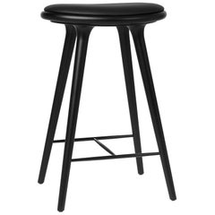 Counter Height High Stool Black Stained Oak wood Leather Seat by Mater Design