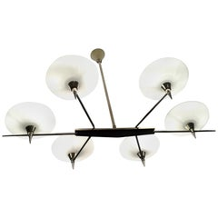 1950 Chandelier with Six Arms of Light by Maison Arlus