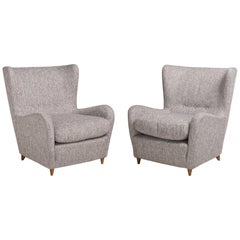 Pair of Paolo Buffa Wool Armchairs, Italy, circa 1950