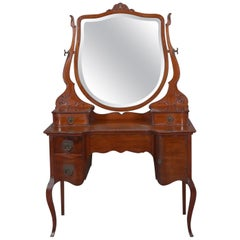 Antique French Style Mahogany and Bronze Mirrored Dressing Table, circa 1920