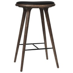 Counter Height High Stool Dark Stained Oak Leather Seat by Mater Design
