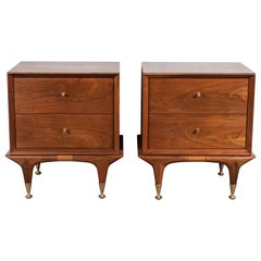 Gorgeous Midcentury Walnut Refinished Nightstands with Original Brass Feet
