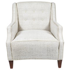 Midcentury Club Chair Newly Upholstered in a Hemp Rug