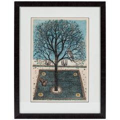 Vintage Artist Signed and Dated Lithograph of Owl in Tree