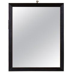 Mid-19th Century English, Black Lacquer and Ribbed Frame, Mirror