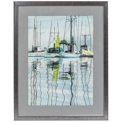 "Vintage Water Color of Boats in Harbor, Signed ""Elain '78"""