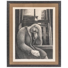 """Vintage Lithograph by Gerald Adams titled """"Woman Drying Hair"""""""