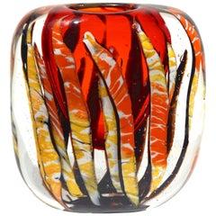 Cristian Onesto 1980s Crystal Red and Cream White Murano Glass Organic Vase