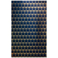 'Marrakech Palm' Contemporary, Traditional Wallpaper in Midnight Blue