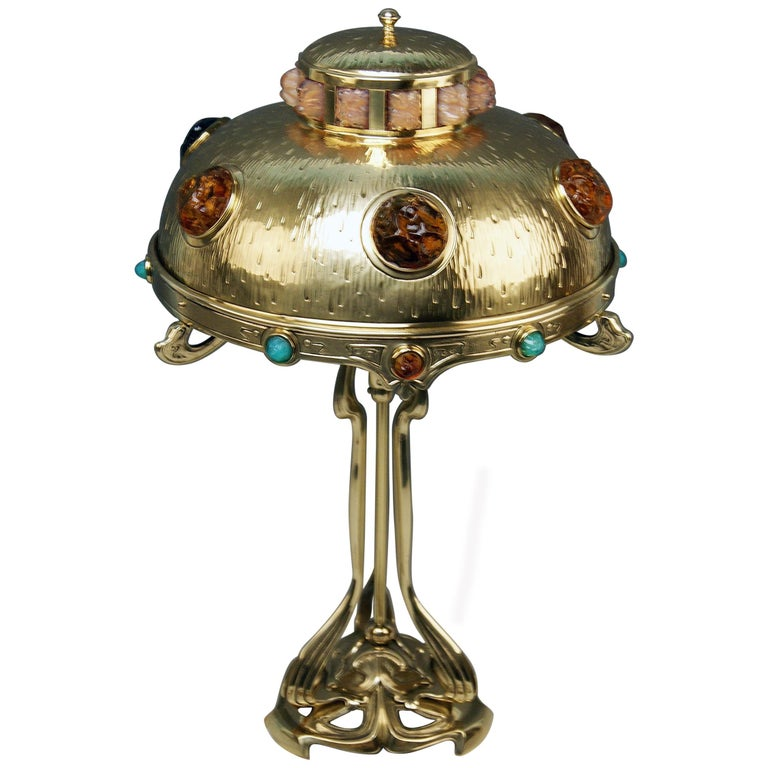 Art Nouveau Table Lamp Brass Multicolored Glass Stones Vienna, circa 1905-1910 For Sale
