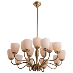 15-Arm Brass Chandelier, Italy, circa 1950