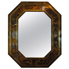 French Bronze Octagonal Mirror With Attributed to Maison Jansen