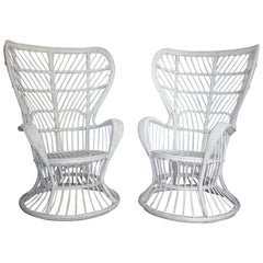 Pair of Italian Rattan Armchair by Gio Ponti & Lio Carminati for Bonacina, 1950s