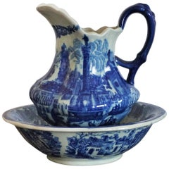 Vintage Blue and White Ceramic Wash Bowl and Water Pitcher in Victorian Style