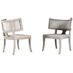 Rare Pair of Large Gustavian Klismos Chairs