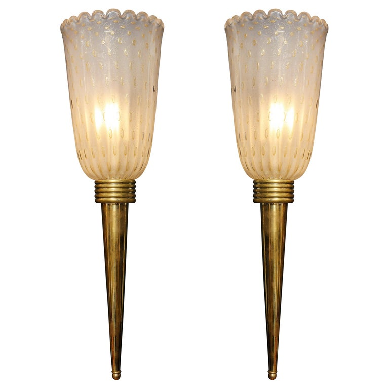 "Pair of Ivory ""Pulegoso"" Murano Glass and Brass Torch Sconces, Italy For Sale"
