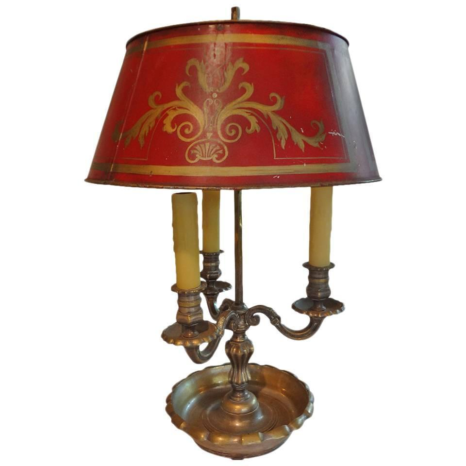 19th Century French Bronze and Tole Bouillotte Lamp at 1stdibs