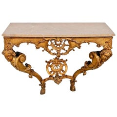 Period French 18th Century Regence Giltwood Marble Top Console Table