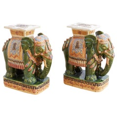 Pair of Asian Elephant Garden Stools or Drink Tables
