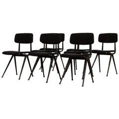 """Set of 8 Black Velvet Friso Kramer """"Result"""" Chairs"""