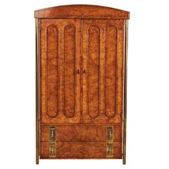 Mastercraft Armoire Chest of Drawers in Burl Wood and Brass, Hollywood Regency