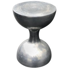 Mid-Century Modern Hourglass Pedestal in Thick Aluminum Plate