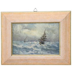 20th Century Oil Painting on Hardboard Marine with Boats