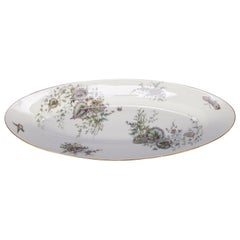 Antique Hand-Painted, Enameled and Gilt Deep Serving Platter, Garden Motif