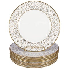 10 French Empire Limoges School Fleur-de-Lis Gilt Porcelain Dinner Plates